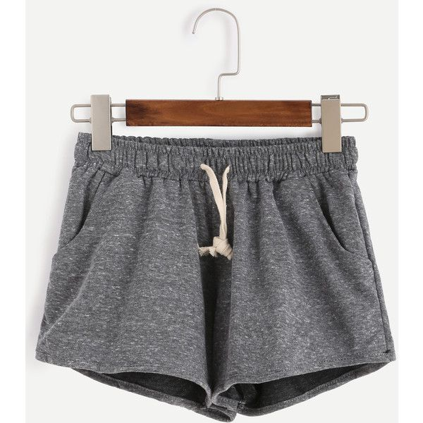 Grey Marled Knit Drawstring Shorts ($11) ❤ liked on Polyvore featuring shorts, bottoms, pants, grey, knit shorts, gray shorts, draw string shorts, drawstring shorts and stretchy shorts