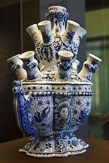 Chinoiserie - Blue & White Tulipiere - so okay - this is neat looking but what is it used for?