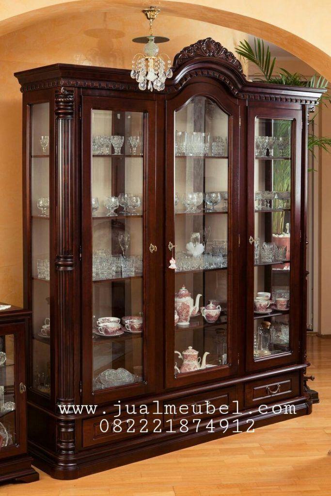 Lemari Hias Jati Model Klasik Pintu 3 Home Decor Furniture