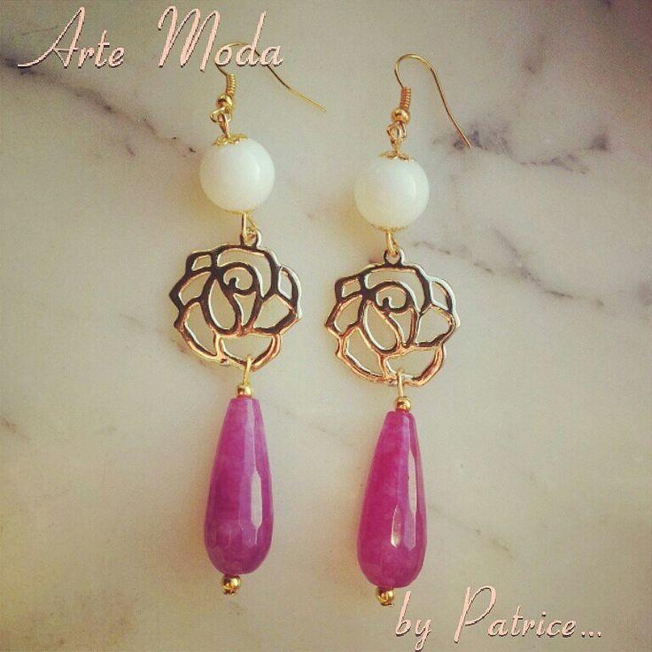Modello Rosa...#orecchini#creazioni#fatteamano#arte#moda#by#patrice#love#flowers#white#golden#madeinitaly#creation#colors#