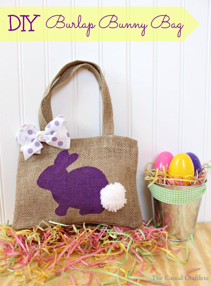 DIY Burlap Bunny Bag - The Casual Craftlete.  Tutorial with step-by-step instructions.  So adorable and so easy!  Could use this same technique with so many other stencils!