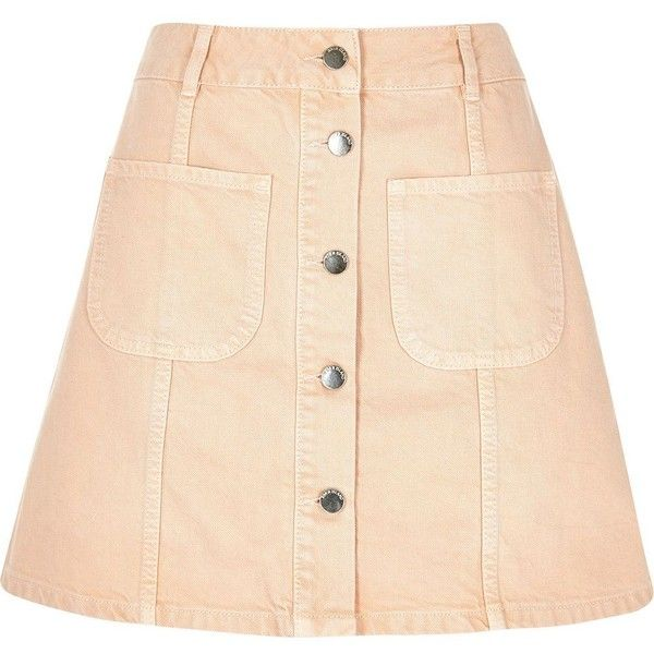 River Island Pink denim button-up A-line skirt ($44) ❤ liked on Polyvore featuring skirts, bottoms, midi skirts, pink, women, button front denim skirt, knee length a line skirt, denim skirt, beige midi skirt and pink a line skirt