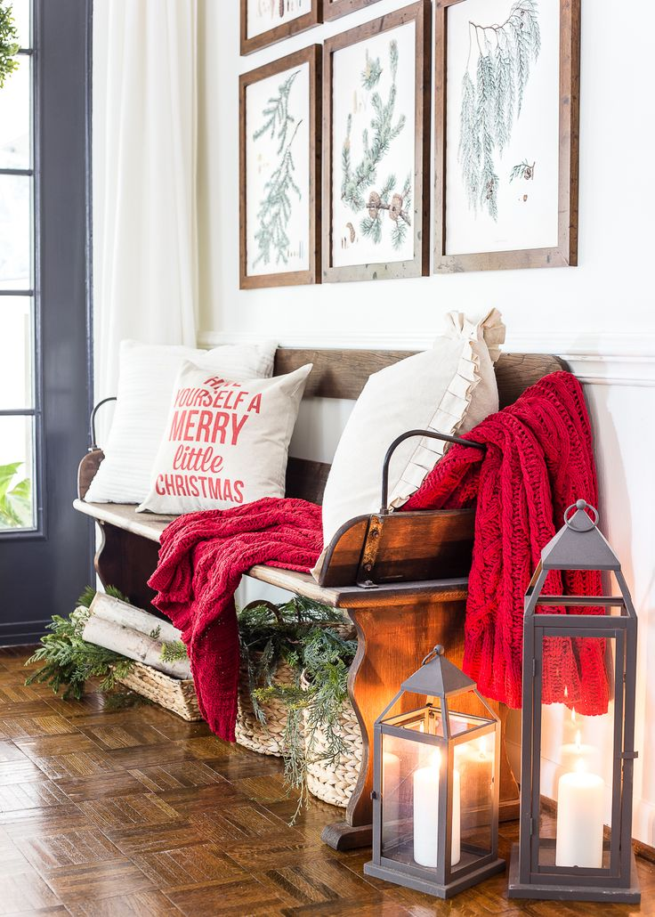 Winter Botanical Gallery Wall Printables   blesserhouse.com - A Christmas entryway bench and a free downloadable set of winter evergreen botanical prints for a printable gallery wall #christmasprintable #christmasentryway #botanicalprints #gallerywall