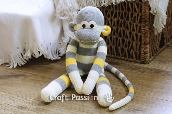ATELIER CHERRY: Macaco de meia - Molde e Passo a passo