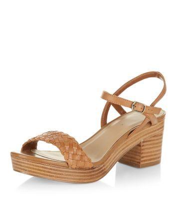 Tan Leather Plaited Front Strap Block Heel Sandals