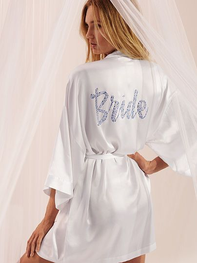 A bride's time to shine is ALWAYS. Wear this silky robe pre-ceremony and later, in the honeymoon suite. | Victoria's Secret Bridal Robe