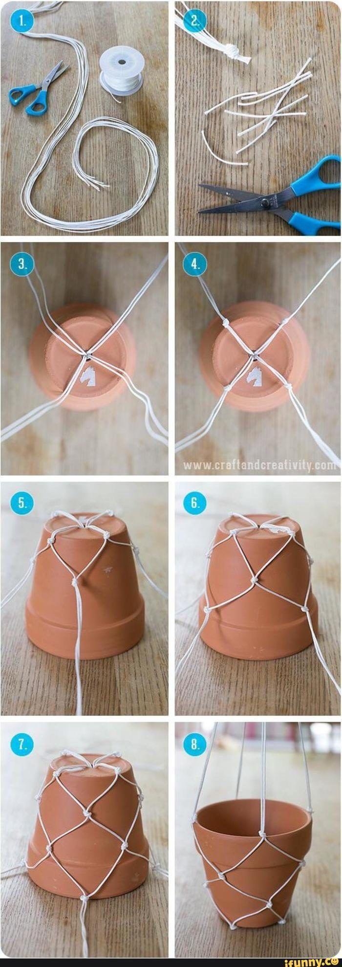 Как изготовить кашпо из шнура фото мк