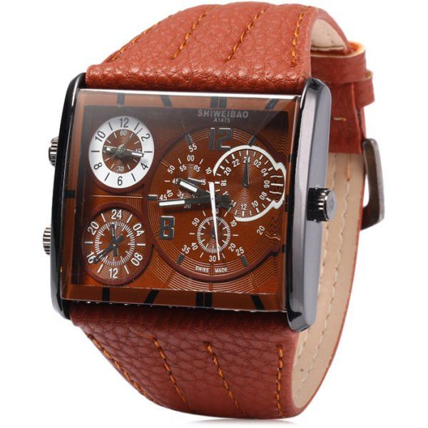 Shiweibao Double Mvmnt Stainless Steel Quartz Watch for Men
