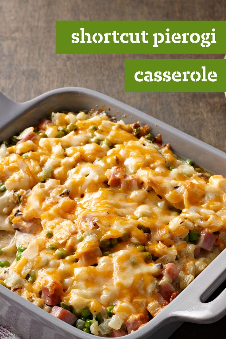 Shortcut Pierogi Casserole – Start with ready-made pierogies. Add garlic, onions, ham, more cheese, and voilà! You have a Shortcut Pierogi Casserole recipe ready for your dinner table.