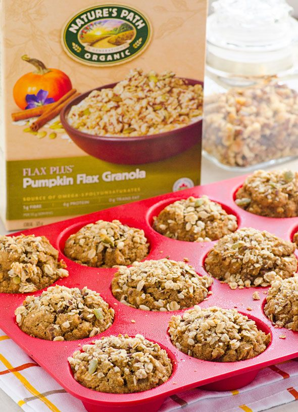 Pumpkin Granola Muffins -- Breakfast worthy muffins that are low in sugar and high in fats and fibre with delicious granola crunch.