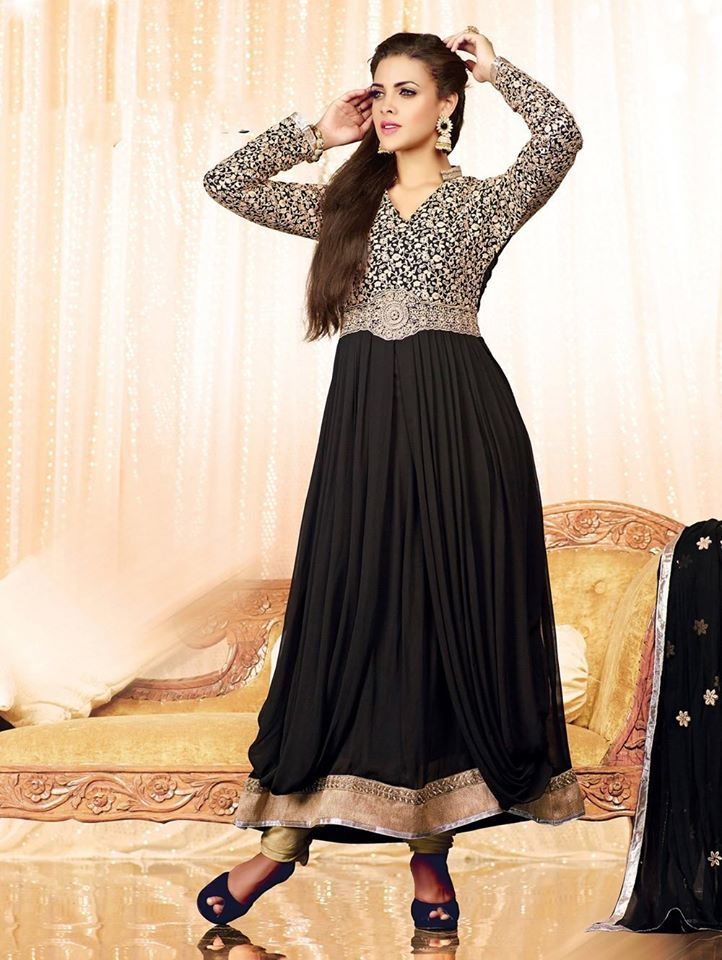 A classic #Black dress can never go wrong.. What's your take?  Shop online : http://www.saree.com/black-georgette-anarkali-suit-with-embroidery-work-33471