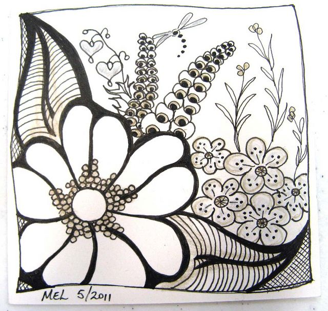 Flower zentangle by dobie256, via Flickr:   ah, nice and simple and so well executed-  inspiration