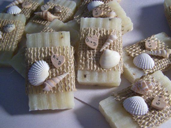 Beach wedding favors, 40 bridal shower favors soaps, seashells soaps. mini soaps, lavender soaps on Etsy, $79.50