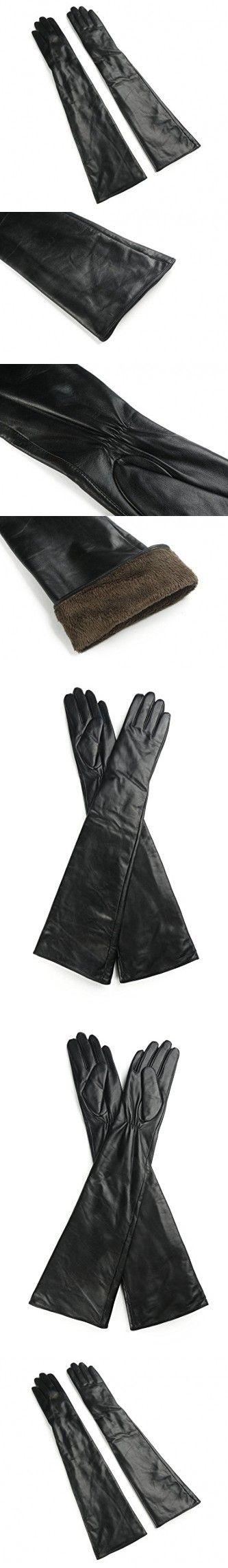 Ambesi Women's Touchscreen Fleece Lined Opera Long Lambskin Leather Winter Gloves Black MAmbesi Women's Touchscreen Fleece Lined Opera Long Lambskin Leather Winter Gloves Black M