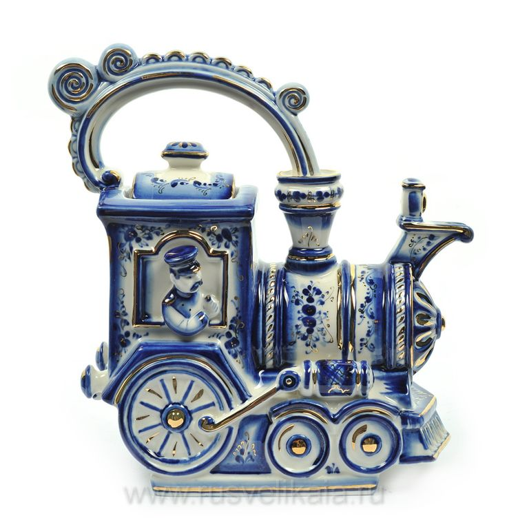Russian train engine teapot .... blue and white, with steam from spout curving back to engineer's cab to form handle, gold highlights, ceramic, Russia