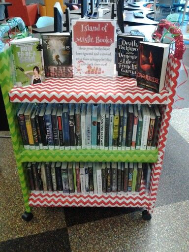 Island of Misfit Books display ... I believe the sign says: These great books have been ignored and unloved. Give them a Happy Holiday and check them out!