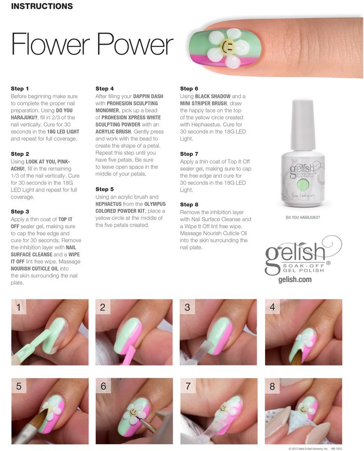 "Gelish Hello Pretty Step by Step ""flower power"" #gelish #nailart"