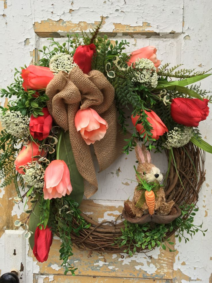 Easter Bunny Wreath, Easter Wreath, Spring Wreath, Front Door Easter Wreath by FlowerPowerOhio on Etsy