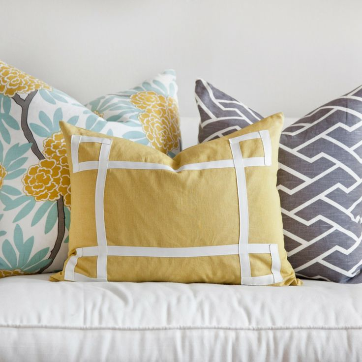 MUSTARD FLEUR CHINOISE, MUSTARD SIGNATURE & CHARCOAL CITY MAZE PILLOWS
