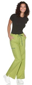"Baby Phat Women's Drawstring Straight Leg Scrub Pant 26007  An adjustable drawstring straight leg pant features an elastic  waistband that can be folded down to show a  contrast print.  Rounded double cargo pockets, side pockets and side vents complete the picture. Inseam length is 31"".  $23.00  #scrubs #scrubcouture #nurses"