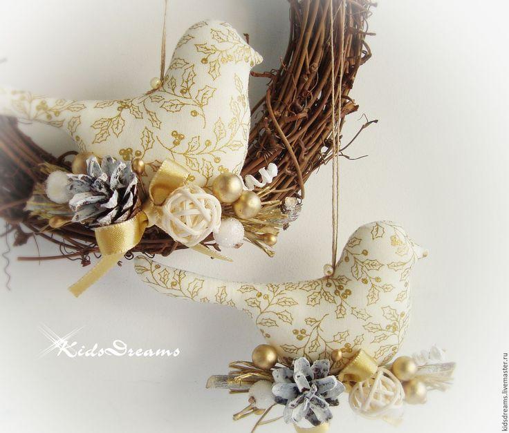 """Купить Птички """"Золотое Рождество"""" - золотой, Праздник, праздничное украшение, игрушка на елку, Новый Год"""
