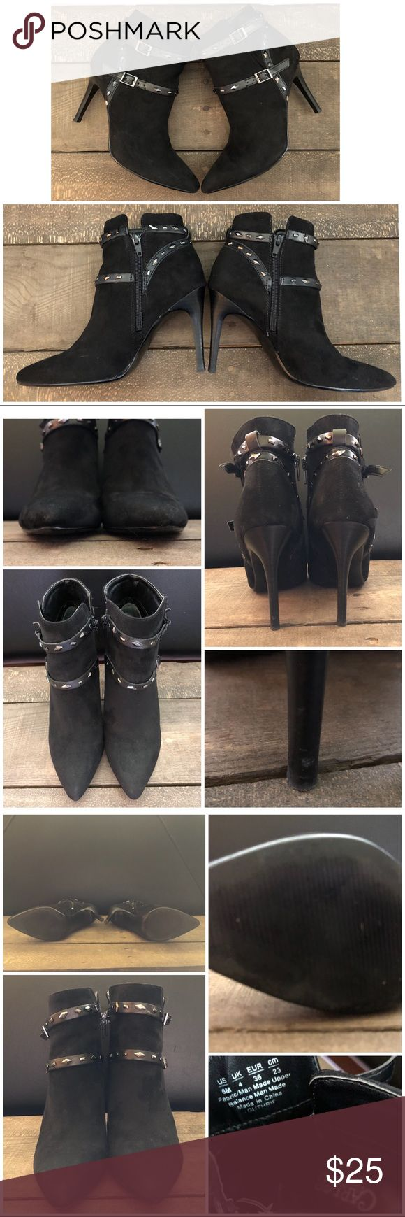 **Final price** Carlos Santana boots Women's Carlos Santana black suede like ankle boots with decorative ankle straps with buckles. Slit on outside and zipper on inside. GOOD USED condition. Some signs of wear (shown in pics). Slight scuffs on heels, otherwise great condition overall. No stains or tears. Carlos Santana Shoes Ankle Boots & Booties