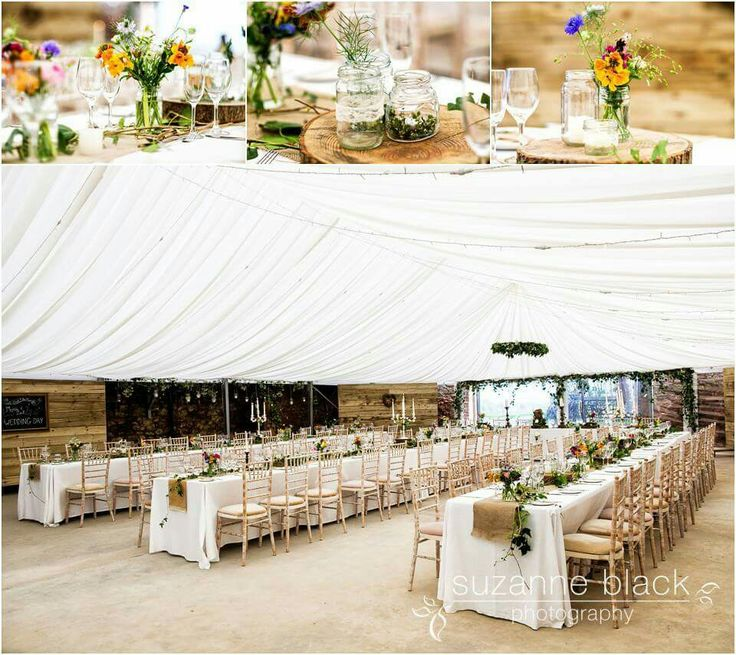 Barn marquee styling by Through the Looking Glass Scotland. Events Styling Planning. Photos by Suzanne Black photography. Scottish wedding. Rustic wedding. Enchanted Garden. Hessian. Jars. Candlesticks.