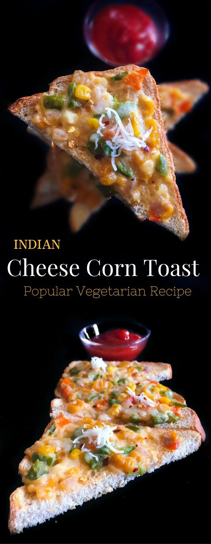 Indian Cheese Corn Toast - Popular Vegetarian Recipe : #sundaysupper #corn…