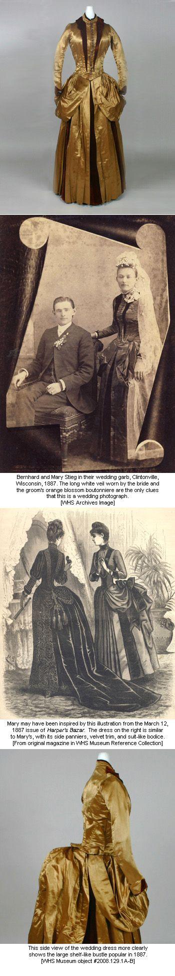 Silk gown worn by Miss Mary Dittberner at her 1887 wedding to Bernhard Stieg in Clintonville, Wisconsin.