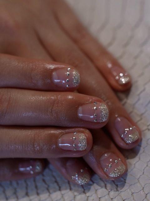 ☆ピンクベージュ×シルバーラメのダブルフレンチ☆の画像 | パリのネイルサロン Bijoux nails Paris