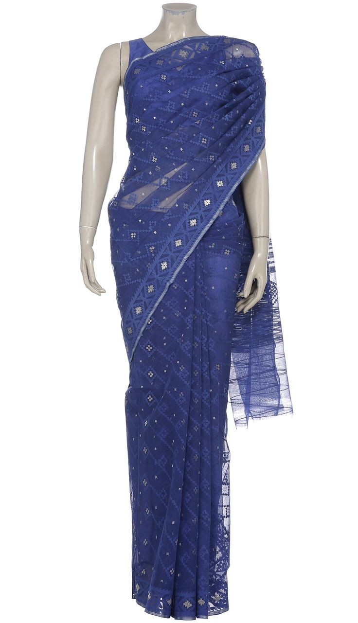 Blue Half Silk Jamdani Saree