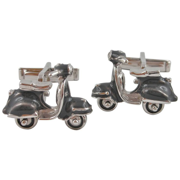 Jona Enamel Silver Scooter Cufflinks | From a unique collection of vintage cufflinks at https://www.1stdibs.com/jewelry/cufflinks/cufflinks/