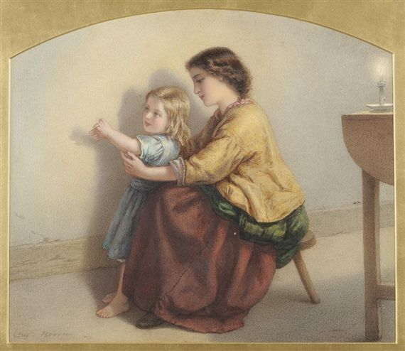 Augusto Jules Bouvier, Madre e Bambino in un interno a lume di candela, il bambino fa l'ombra con le mani.