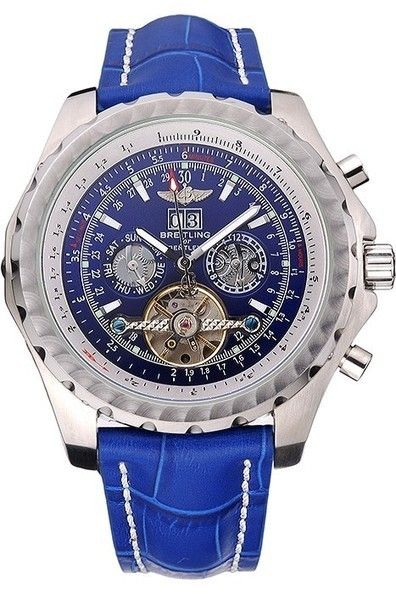 Replica Breitling Bentley Mulliner Tourbillon Brushed Stainless Steel Cutwork Bezel Blue Dial Watch With Polished Stainless Steel Case And Blue Leather Strap