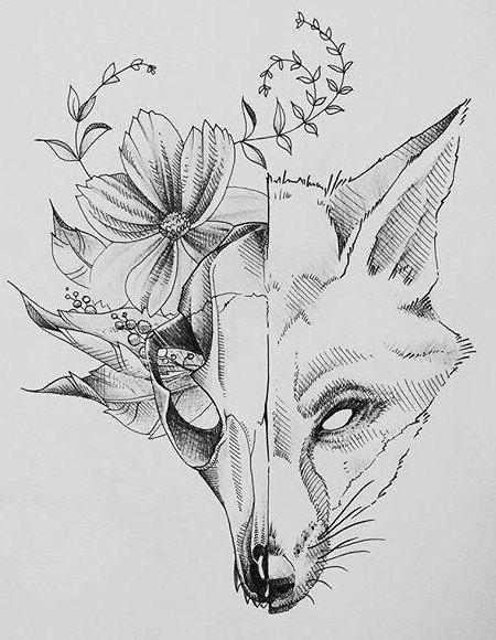 Fox Sketch: 21 Tausend Bilder in Yand gefunden… #bilder # found #sketch #t  – diy tattoo images