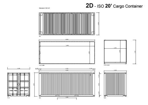 Download 2d And 3d Cad Shipping Container Drawings And