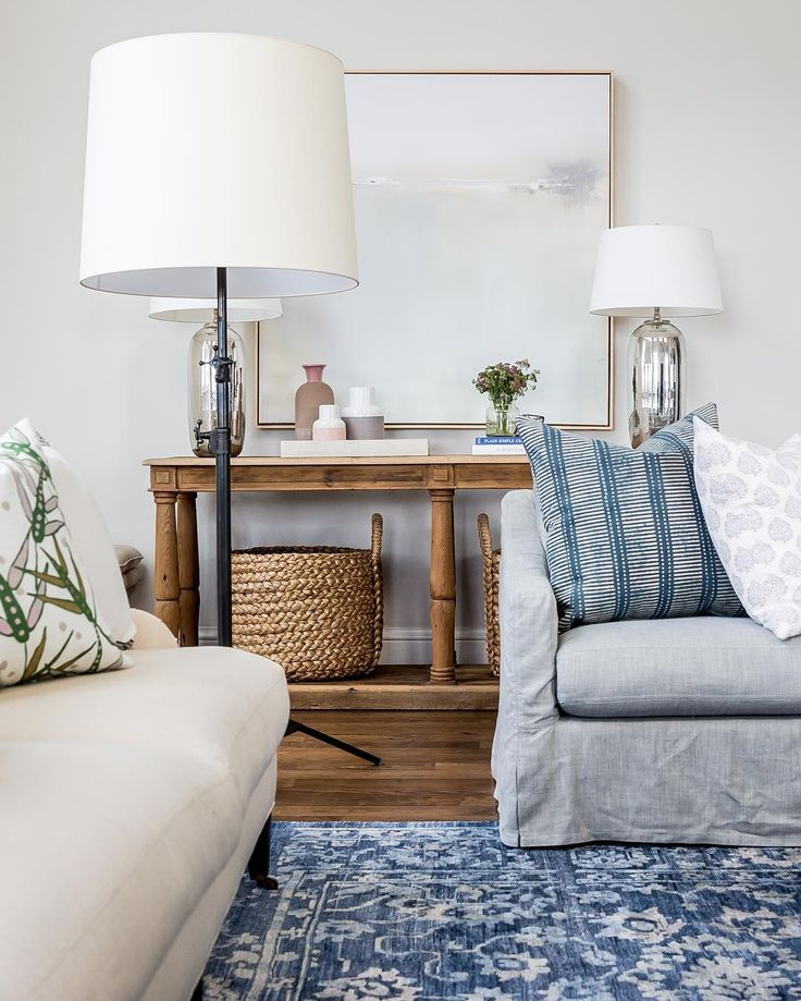 Studio McGee   Blue And White Patterned Rug (looks Like Loloi Mirage  Viscose Denim) And Slipcovered Sofa   Foothill Drive Project