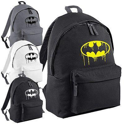 Batman Dying Dripping Logo Backpack - DC Superhero Bat Gotham School College Bag | Other Men's Accessories | Men's Accessories - Zeppy.io