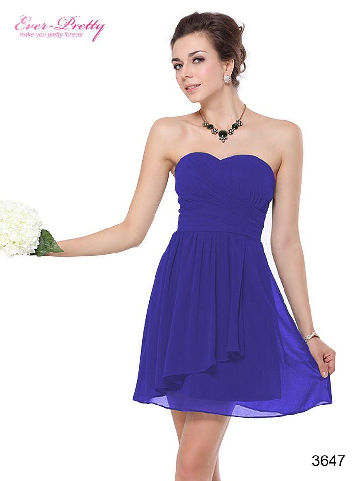Sweetheart Sapphire Blue Ruffles Empire Line Chiffon Bridesmaid Dress