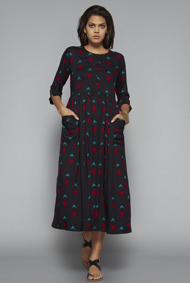Bombay Paisley By Westside Black Printed Dress Dresses