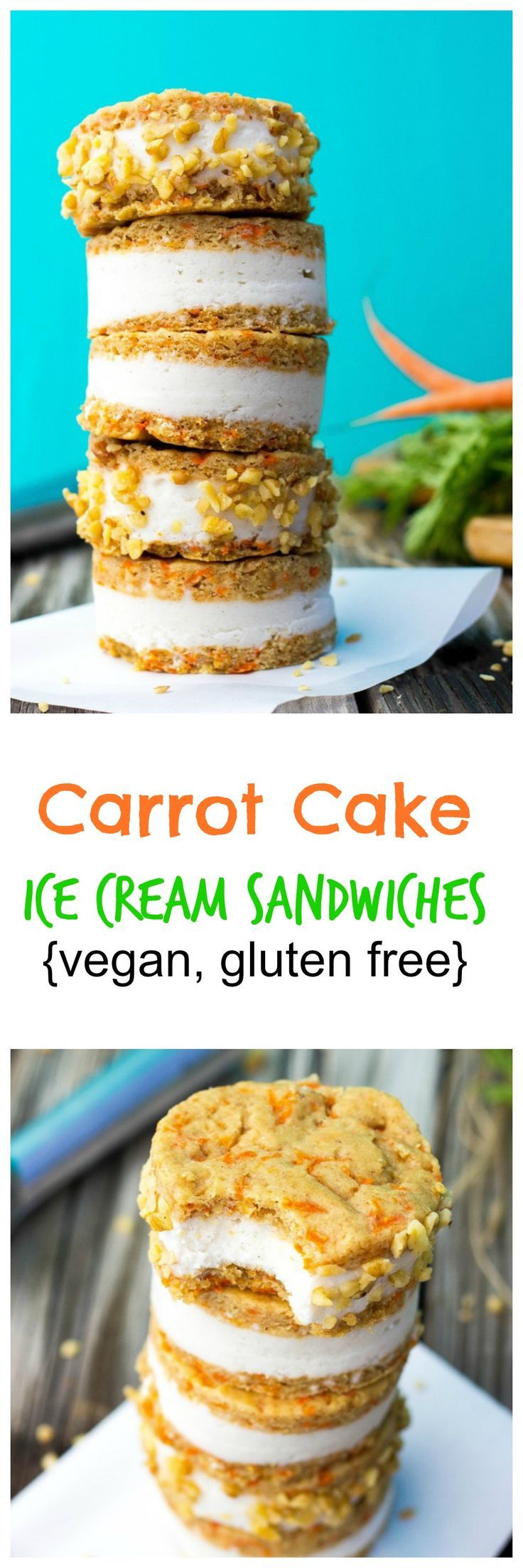 Carrot Cake Ice Cream Sandwiches (vegan & gluten free)