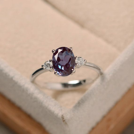 Awesome Alexandrite oval ring, silver, alexandrite jewelry, gemstone ring …