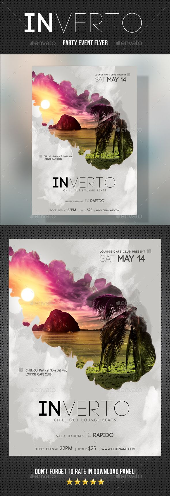 Inverto Music Party Flyer  — PSD Template #rock • Download ➝ graphicriver….
