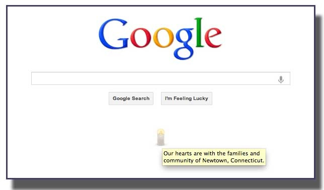 """In the wake of the Friday shooting at an elementary school in Newtown, Conn., Google quietly sent its own thoughts to the victims, with a subtle single candle on its homepage. """"..."""