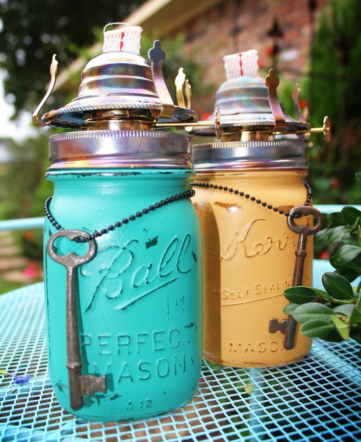 Upcycled Repurposed Ball Kerr Mason Pint Jar Set Oil Burners Planter Vase with Blue Yellow Annie Sloan Chalk Paint and Old Skeleton Keys LOVE