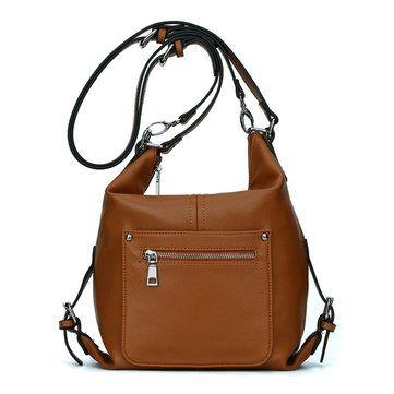 Women Microfiber Leather Retro Shoulder Bags Ladies Elegant Zipper Backpack Crossbody Bags