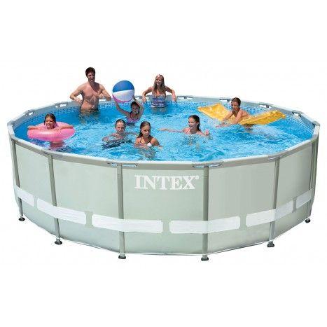 Het ronde Ultra Frame #zwembad van #Intex is extra stevig en verkrijgbaar in verschillende afmetingen. Waterpret gegarandeerd! #dws