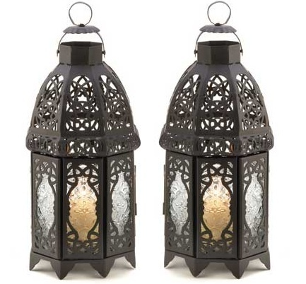 LOVE these! 2 Moroccan Candle Holders Hanging Lamps Black Iron Lanterns  $24.00: Moroccan Candles, Irons Lanterns, Holders Hanging, Candle Holders, Lamps Black, Candles Holders, Black Irons, Old Lamps, Hanging Lamps