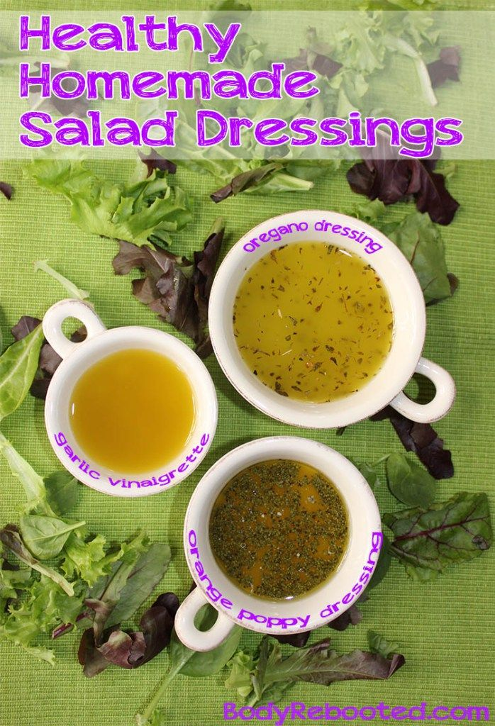 Healthy Homemade Salad Dressings   BodyRebooted.com Get these 3 delicious easy-to-make dressings that are healthy and delicious. No more chemicals, artificial colors, and added sugars for this girl!