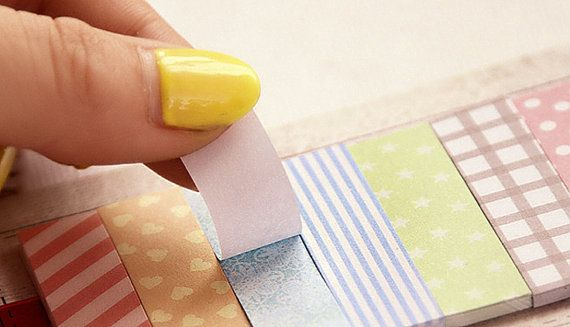 Sticky Notes - 1 Sticky Note Set - Pastel Sticky Notes Plus 2 Rolls of Skinny Paper Tape - Cute Sticky Notes - Memo Pads - Planner Supplies #planneraddict #planneraddicts #plannerstickers #plannersupplies